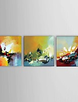 cheap -Hand-Painted Abstract Floral/Botanical Horizontal, Comtemporary Modern Canvas Oil Painting Home Decoration Three Panels
