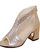 cheap -Women's Shoes PU Spring Summer Comfort Heels Chunky Heel Open Toe Beading for Casual Office & Career Gold Silver