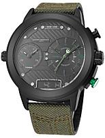 baratos -WEIDE Homens Digital Relógio de Moda Japanês Impermeável Mostrador Grande Relógio Casual Três Fusos Horários Náilon Banda Luxo Legal Verde