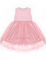 cheap -Girl's Daily Solid Colored Dress, Cotton Spring Summer Sleeveless Cute White Blushing Pink