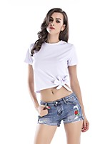 cheap -Women's Street chic Cotton T-shirt - Solid Colored, Bow