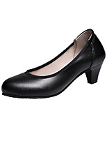 cheap -Women's Shoes PU Spring Summer Comfort Heels Low Heel Round Toe for Casual Black