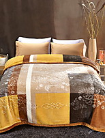 baratos -Velocino de Coral, Acolchoado Geométrica Algodão / Poliéster Poliéster cobertores