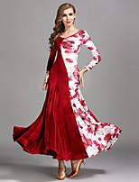 cheap -Ballroom Dance Dresses Women's Training Performance Velvet Pattern / Print Long Sleeves High Dress