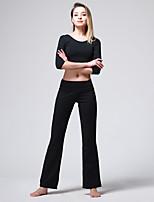 abordables -Danse latine Bas Femme Entraînement Utilisation Mélange de Polyester & Coton Combinaison Taille moyenne Taille haute Pantalon
