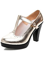 cheap -Women's Shoes Microfibre Spring Fall Basic Pump Heels Chunky Heel Round Toe Buckle for Outdoor Gold Black Silver