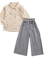 cheap -Girls' Daily Solid Colored Print Clothing Set, Cotton Polyester Spring Long Sleeves Simple Khaki