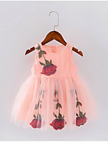 cheap -Girl's Daily Floral Dress, Polyester Spring Summer Sleeveless Vintage Blushing Pink