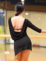 abordables -Danse latine Robes Femme Utilisation Coton Modal Fendue Ruché Demi Manches Robe