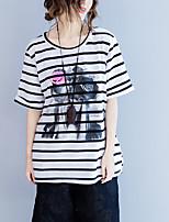 cheap -Women's Butterfly Sleeve Cotton T-shirt - Striped Bow Tassel
