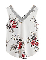 cheap -Women's Slim Blouse - Solid Floral, Basic V Neck Deep V