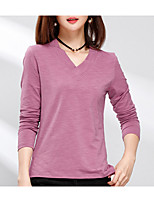 cheap -Women's Street chic Slim T-shirt - Solid Colored V Neck