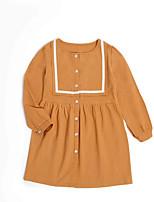 Недорогие -Девичий Платье Повседневные Полиэстер Однотонный Лето Длинный рукав Простой Оранжевый