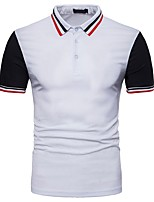 cheap -Men's Sports Active Chinoiserie Cotton Polo - Striped Color Block, Basic Patchwork Shirt Collar