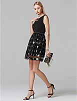 preiswerte -Eng anliegend Schmuck Kurz / Mini Pailletten Jersey Cocktailparty Kleid mit Perlenstickerei durch TS Couture®