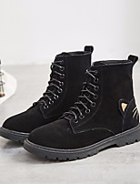 cheap -Women's Shoes Nubuck leather Fall Winter Combat Boots Comfort Boots Chunky Heel Booties/Ankle Boots for Casual Black