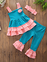 cheap -Girls' Daily Going out Patchwork Jacquard Clothing Set, Cotton Polyester Summer Sleeveless Casual Active Blue