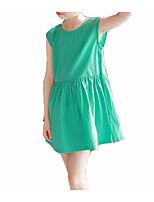 preiswerte -Mädchen Kleid Alltag Solide Baumwolle Sommer Ärmellos Einfach Aktiv Grün