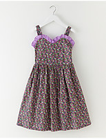 cheap -Girl's Daily Floral Dress, Cotton Summer Sleeveless Simple Purple