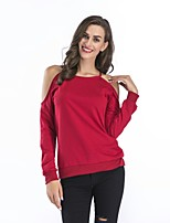 cheap -Women's Going out Cotton T-shirt - Solid Colored Off Shoulder
