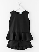 cheap -Girls' Daily Solid Clothing Set, Polyester Spring Sleeveless Simple Green Black