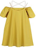 baratos -Menina de Vestido Diário Sólido Primavera Verão Algodão Simples Casual Amarelo