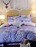 cheap -Duvet Cover Sets Floral 3 Piece Poly/Cotton Jacquard Poly/Cotton 1pc Duvet Cover 1pc Sham 1pc Flat Sheet