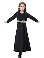 cheap -Girl's Daily Color Block Dress, Polyester Spandex Spring Summer Long Sleeves Boho Black Purple Light Green Fuchsia