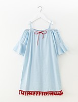 cheap -Girl's Solid Colored Dress Summer Simple Blue