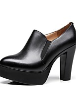 cheap -Women's Shoes Microfibre Spring Fall Basic Pump Heels Chunky Heel Pointed Toe for Casual Office & Career Black