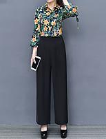 abordables -Mujer Trabajo Blusa - Floral, Estampado Cuello Camisero Pantalón