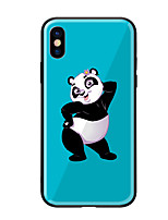 cheap -Case For Apple iPhone X iPhone 8 Pattern Back Cover Panda Hard Tempered Glass for iPhone X iPhone 8 Plus iPhone 8 iPhone 7 iPhone 6s Plus