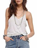 cheap -Women's Active Cotton Tank Top - Striped, Backless Deep V