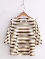 cheap -Women's Cute Cotton T-shirt - Striped