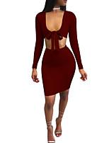 cheap -Women's Slim Shirt Skirt U Neck