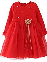 cheap -Girl's Daily Solid Dress, Cotton Polyester Spring Summer Long Sleeves Simple Red