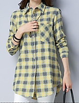 cheap -Women's Going out Street chic Shirt - Plaid Shirt Collar