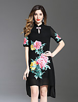 cheap -8CFAMILY Women's Cute Loose Dress - Floral Split Embroidered Stand