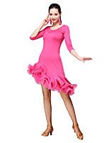 cheap -Latin Dance Dresses Women's Training Milk Fiber Tassel 3/4 Length Sleeves Natural Dress Shorts