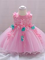 abordables -Robe Fille de Soirée Sortie Fleur Coton Polyester Printemps Eté Sans Manches Mignon Actif Rose Claire