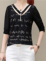 cheap -Women's Basic Street chic Butterfly Sleeve T-shirt - Geometric V Neck