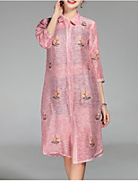 Недорогие -Жен. Рубашка Платье - Цветочный принт, Классический Рубашечный воротник