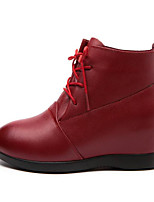 cheap -Women's Shoes Cowhide Fall Winter Combat Boots Comfort Boots Flat Heel Booties/Ankle Boots for Casual Dark Red