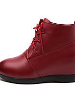 abordables -Femme Chaussures Cuir Automne Hiver boîtes de Combat Confort Bottes Talon Plat Bottine/Demi Botte pour Décontracté Rouge Foncé