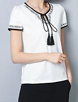 abordables -Tee-shirt Femme,Couleur Pleine Géométrique Noeud Chinoiserie
