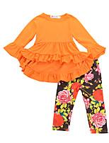 abordables -Chica Festivos Escuela Un Color Floral Conjunto de Ropa, Algodón Primavera Otoño Manga Larga Bonito Boho Negro Naranja Fucsia