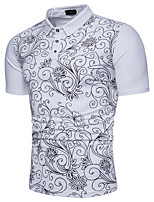 cheap -Men's Street chic Cotton Polo - Floral Shirt Collar
