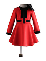 cheap -Girl's Daily Holiday Solid Dress, Polyester Spring Summer Long Sleeves Cute Active Red