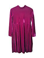 abordables -Robe Fille de Quotidien Vacances Couleur Pleine Polyester Spandex Printemps Eté Manches Longues simple Rétro Violet