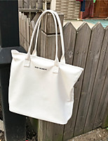 cheap -Women's Bags Canvas Shoulder Bag Zipper for Casual White / Black